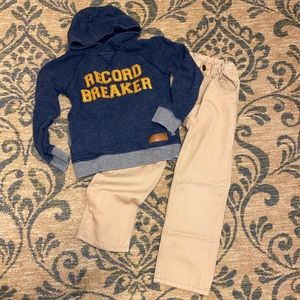 Boys size 6 outfit! Hoodie and khakis